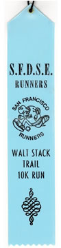 Walt Stack 10K finisher's ribbon